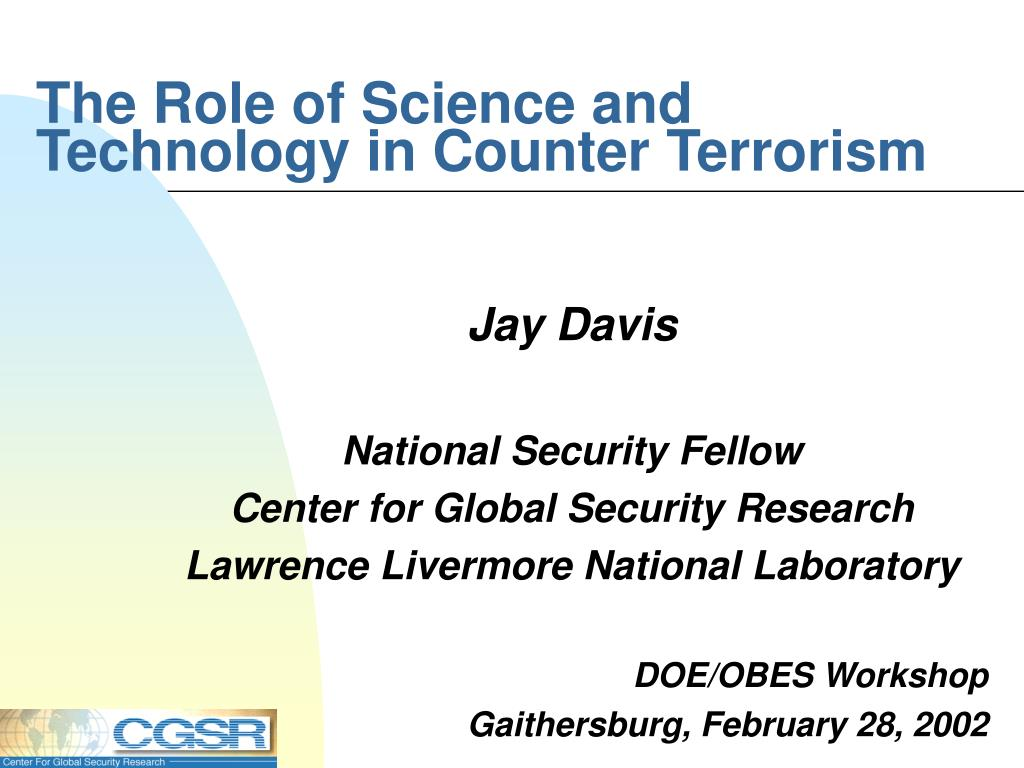 the role of science and technology in counter terrorism l.