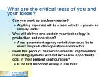what are the critical tests of you and your ideas
