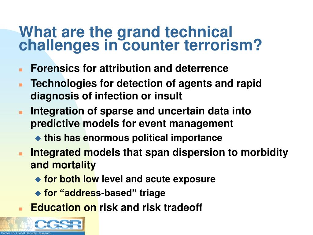 What are the grand technical challenges in counter terrorism?