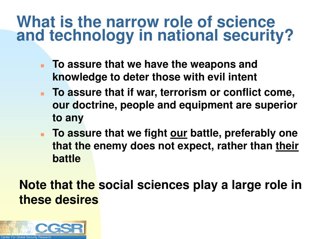 What is the narrow role of science and technology in national security?