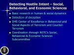 detecting hostile intent social behavioral and economic sciences