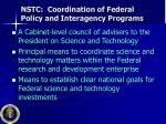nstc coordination of federal policy and interagency programs