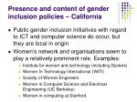 presence and content of gender inclusion policies california