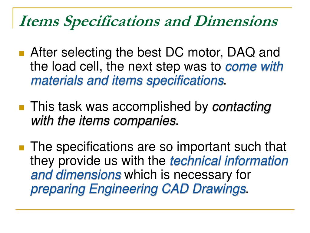 Items Specifications and Dimensions