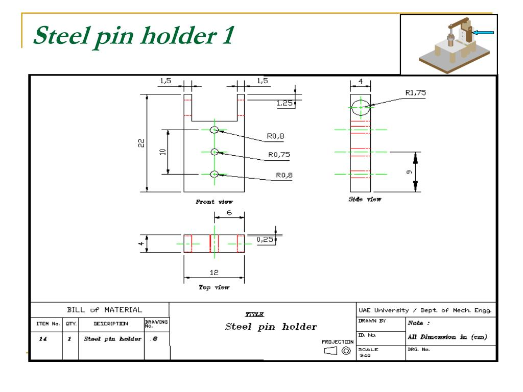 Steel pin holder 1