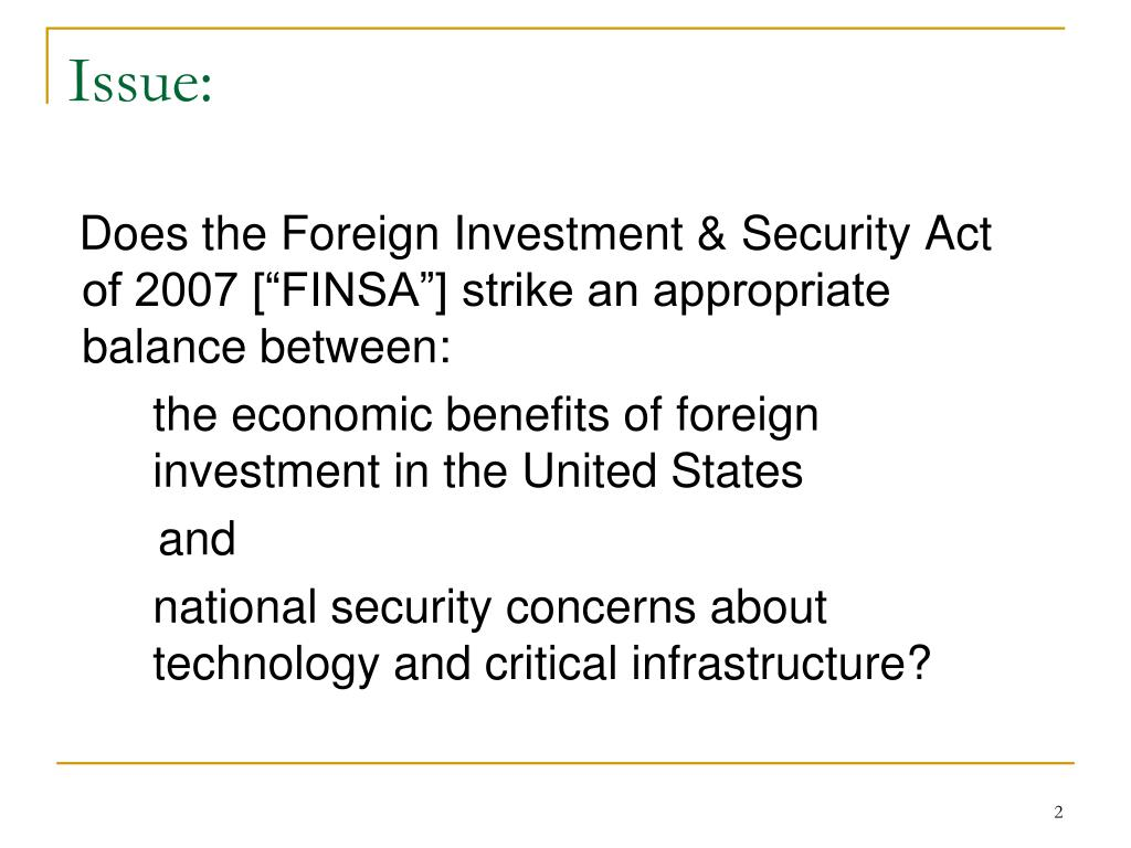 Us foreign investment and national security act of 2007 darcy investments