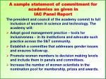 a sample statement of commitment for academies as given in iac panel report