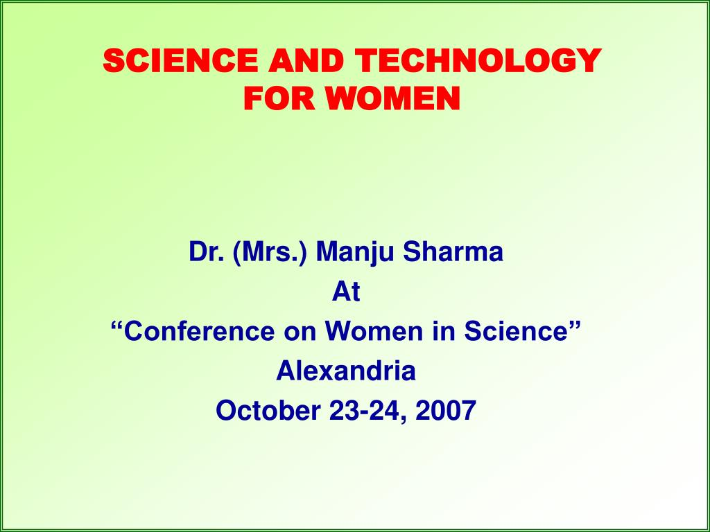 science and technology for women l.