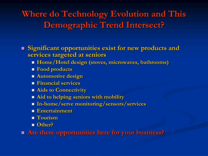 Where do Technology Evolution and This Demographic Trend Intersect?