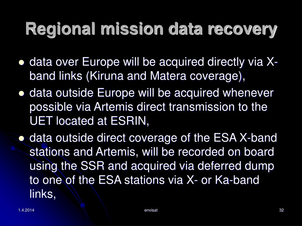 Regional mission data recovery