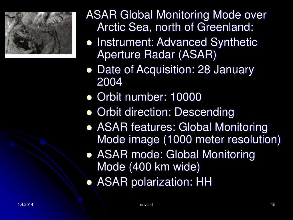 ASAR Global Monitoring Mode over Arctic Sea, north of Greenland: