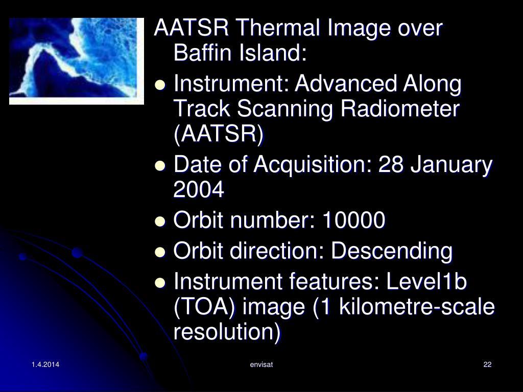 AATSR Thermal Image over Baffin Island: