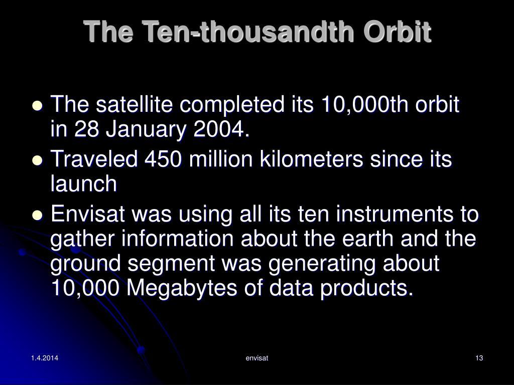 The Ten-thousandth Orbit