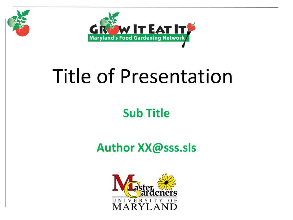 title of presentation l.