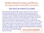 problem based learning and physics developing problem solving skills in all students