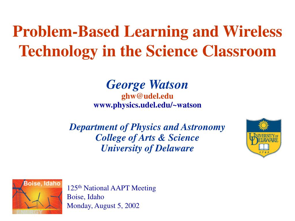 problem based learning and wireless technology in the science classroom l.
