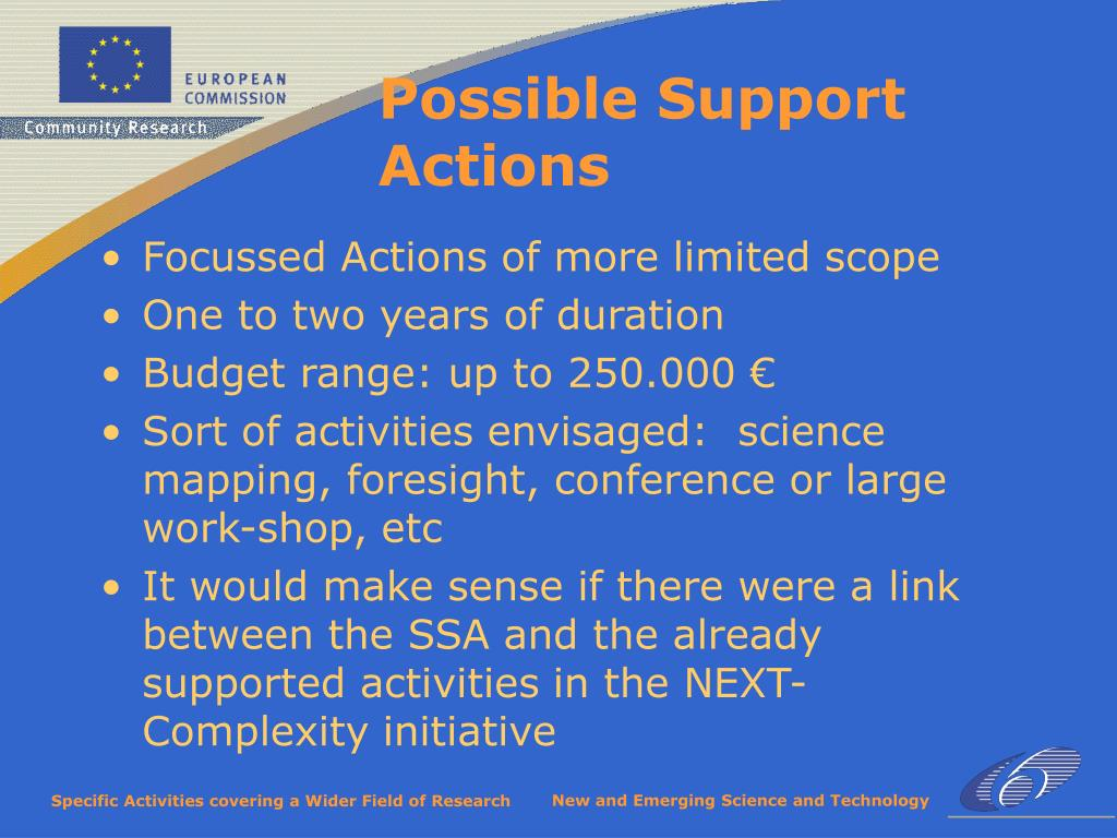 Focussed Actions of more limited scope