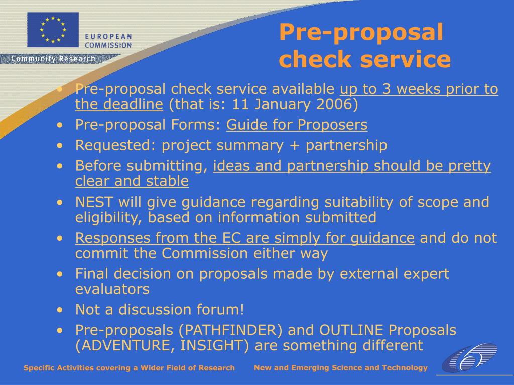 Pre-proposal check service available