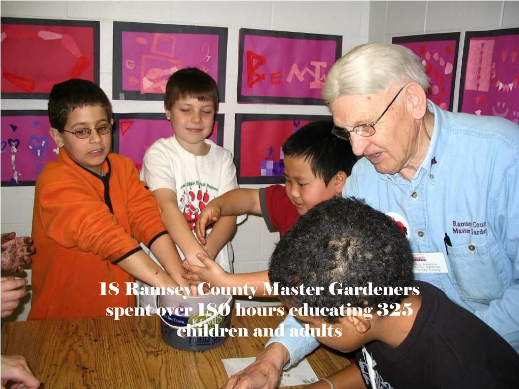 18 Ramsey County Master Gardeners spent over 180 hours educating 325 children and adults