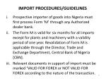 import procedures guidelines