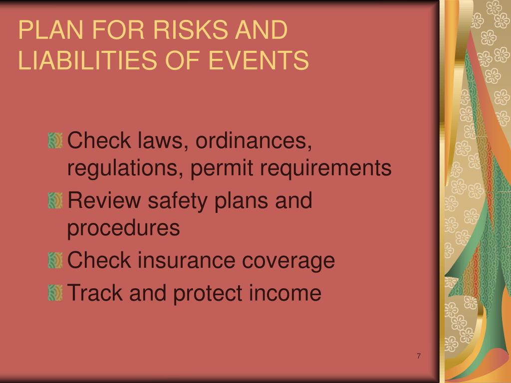 PLAN FOR RISKS AND LIABILITIES OF EVENTS