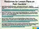resources for lesson plans on rain gardens