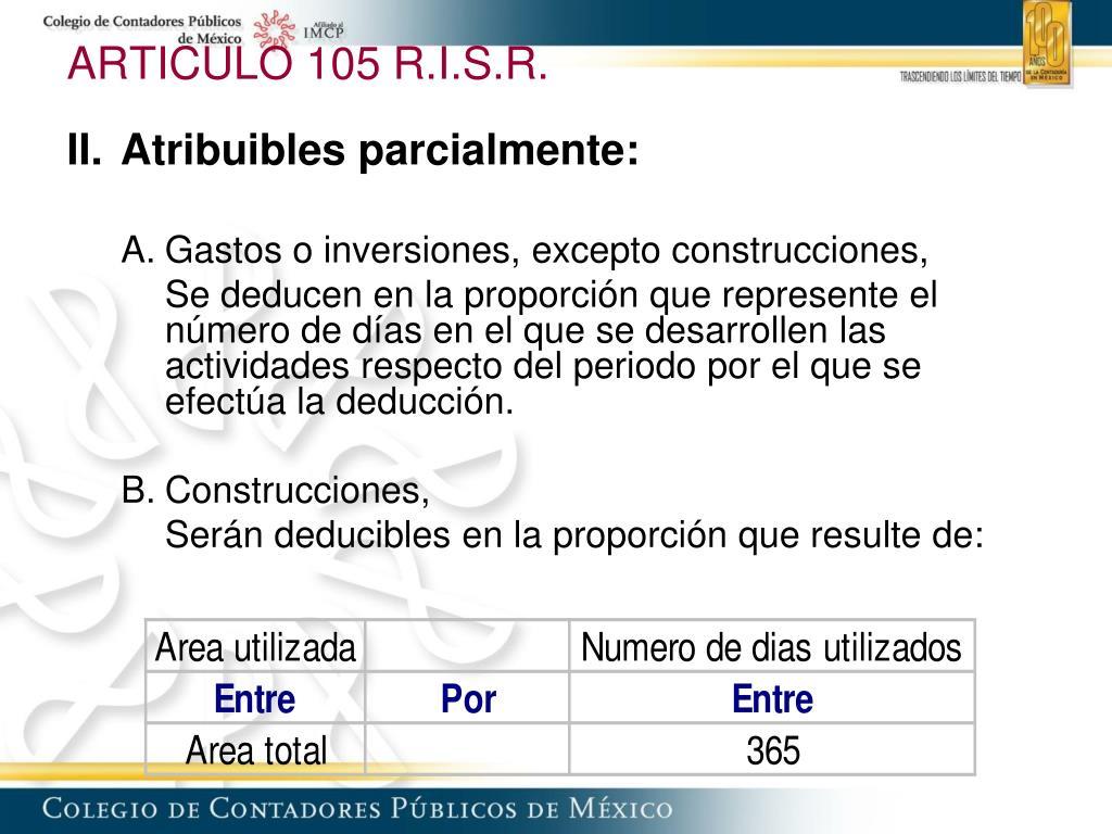 ARTICULO 105 R.I.S.R.