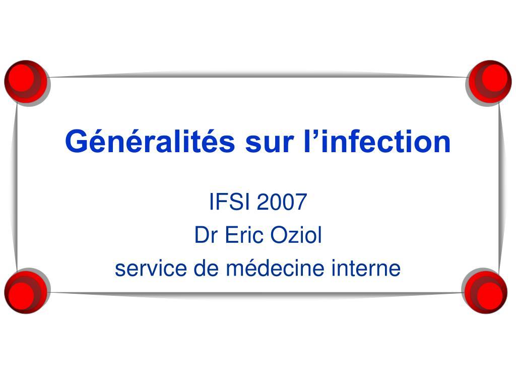 Généralités sur l'infection