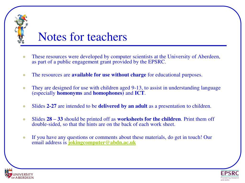 notes for teachers l.