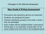 changes in the genres assessed