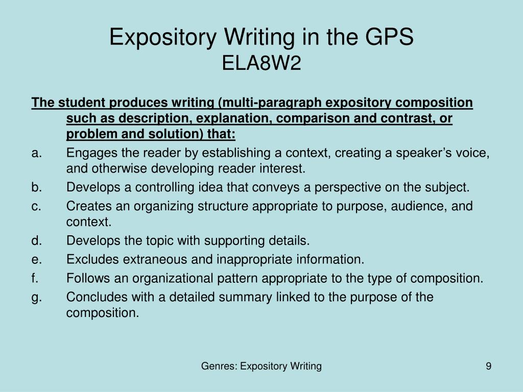 Expository Writing in the GPS