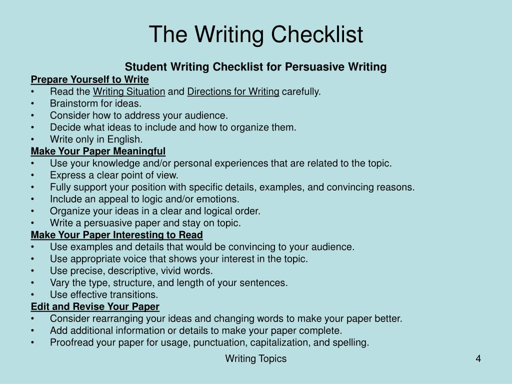 The Writing Checklist