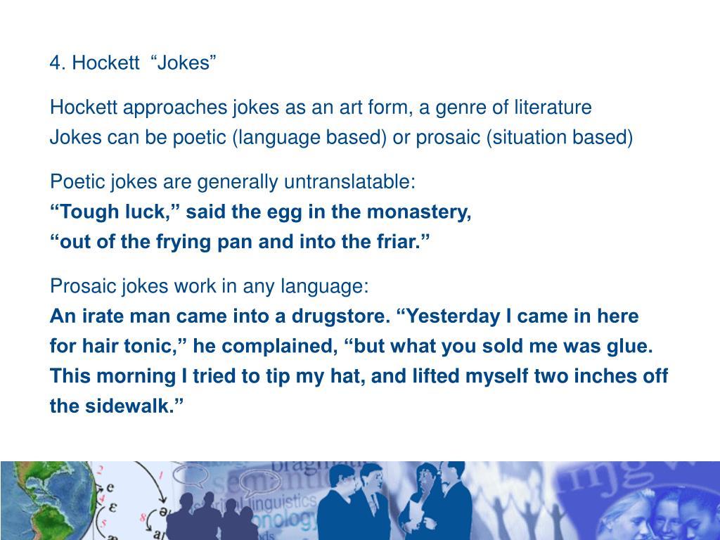 """4. Hockett  """"Jokes"""""""