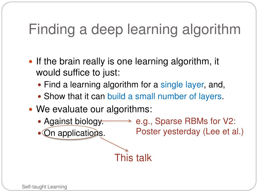 Finding a deep learning algorithm