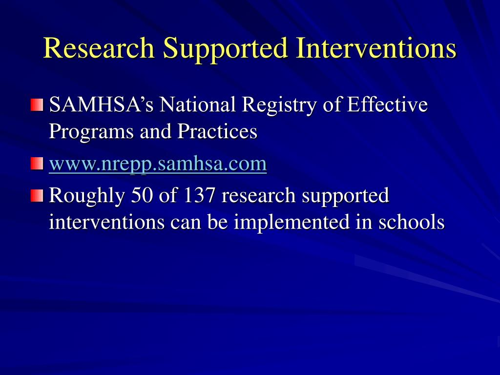 Research Supported Interventions