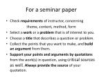 for a seminar paper