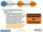 basis for the design cont d