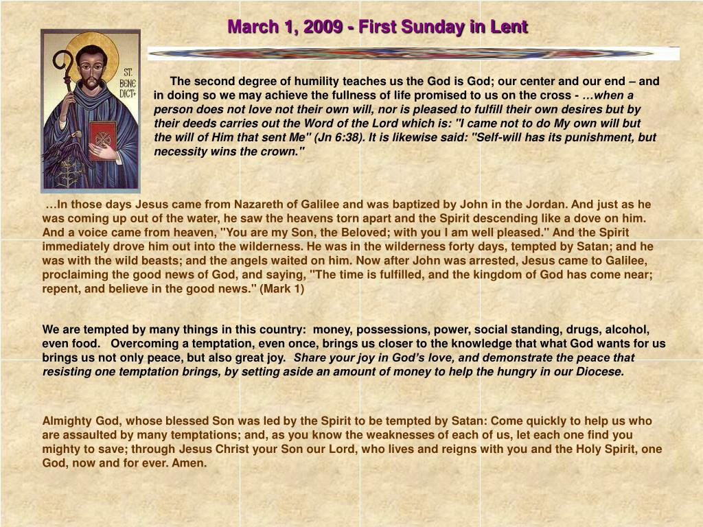 March 1, 2009 - First Sunday in Lent
