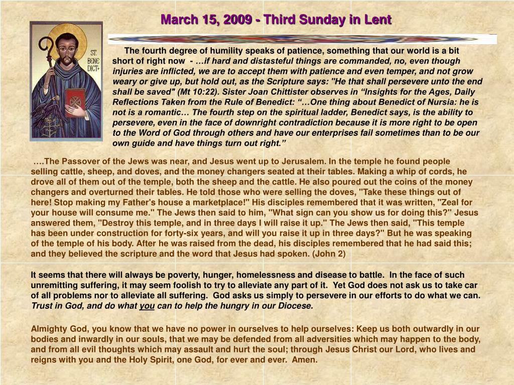 March 15, 2009 - Third Sunday in Lent