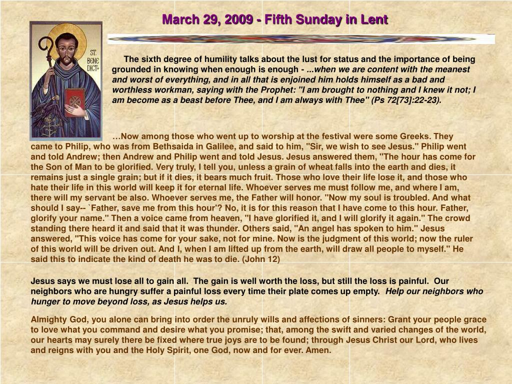 March 29, 2009 - Fifth Sunday in Lent
