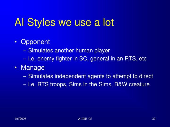 AI Styles we use a lot
