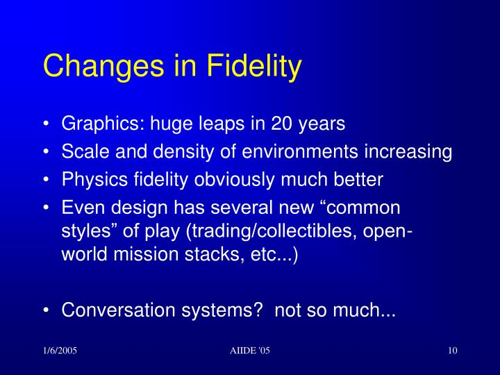 Changes in Fidelity