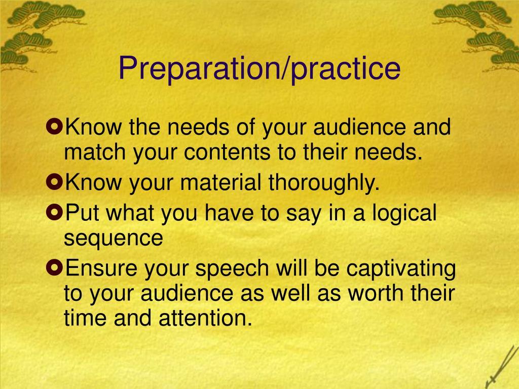 Preparation/practice