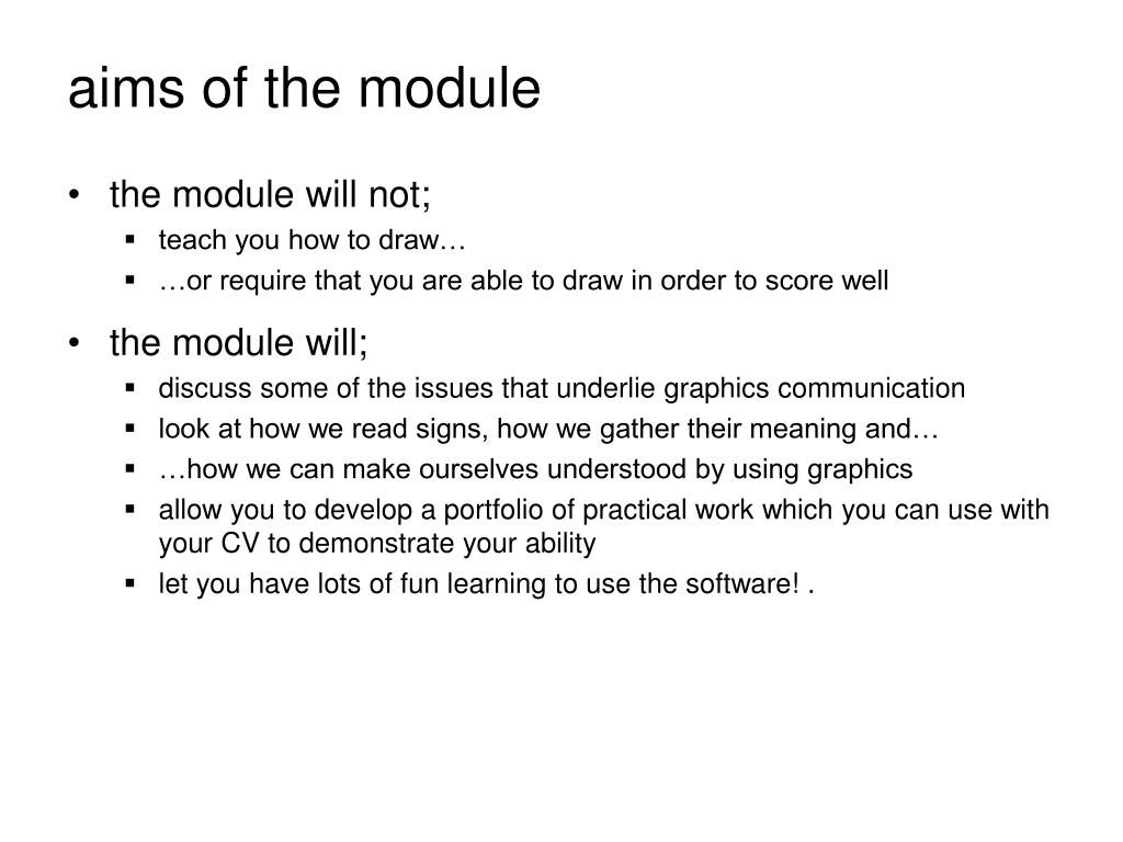 aims of the module