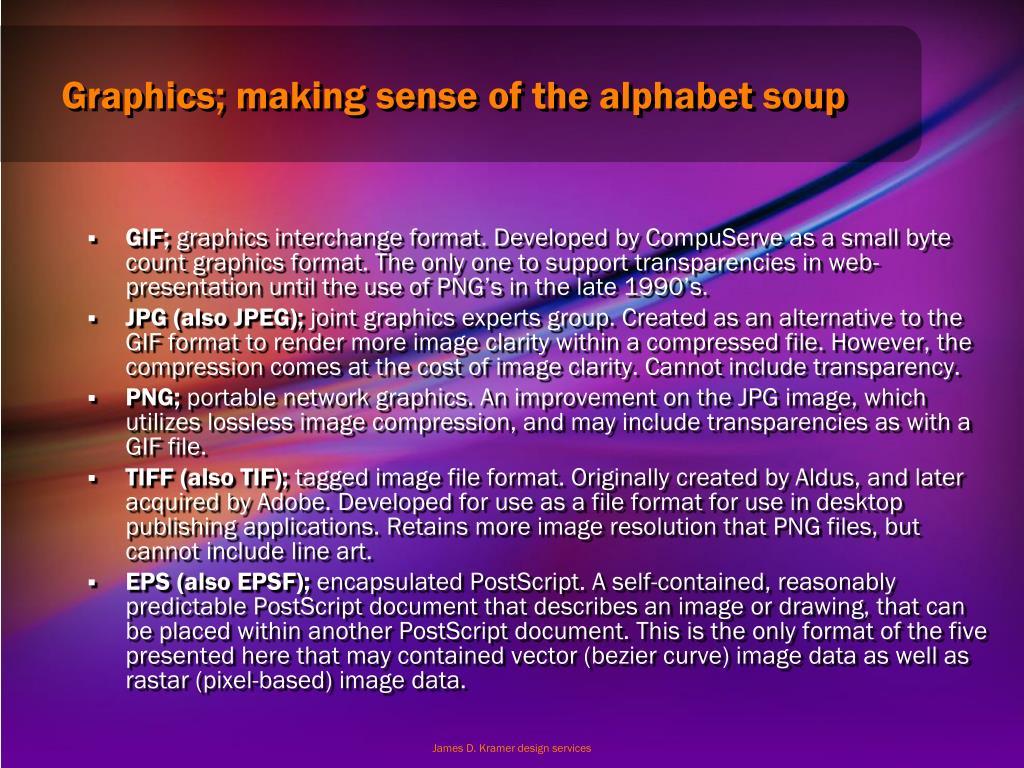 Graphics; making sense of the alphabet soup