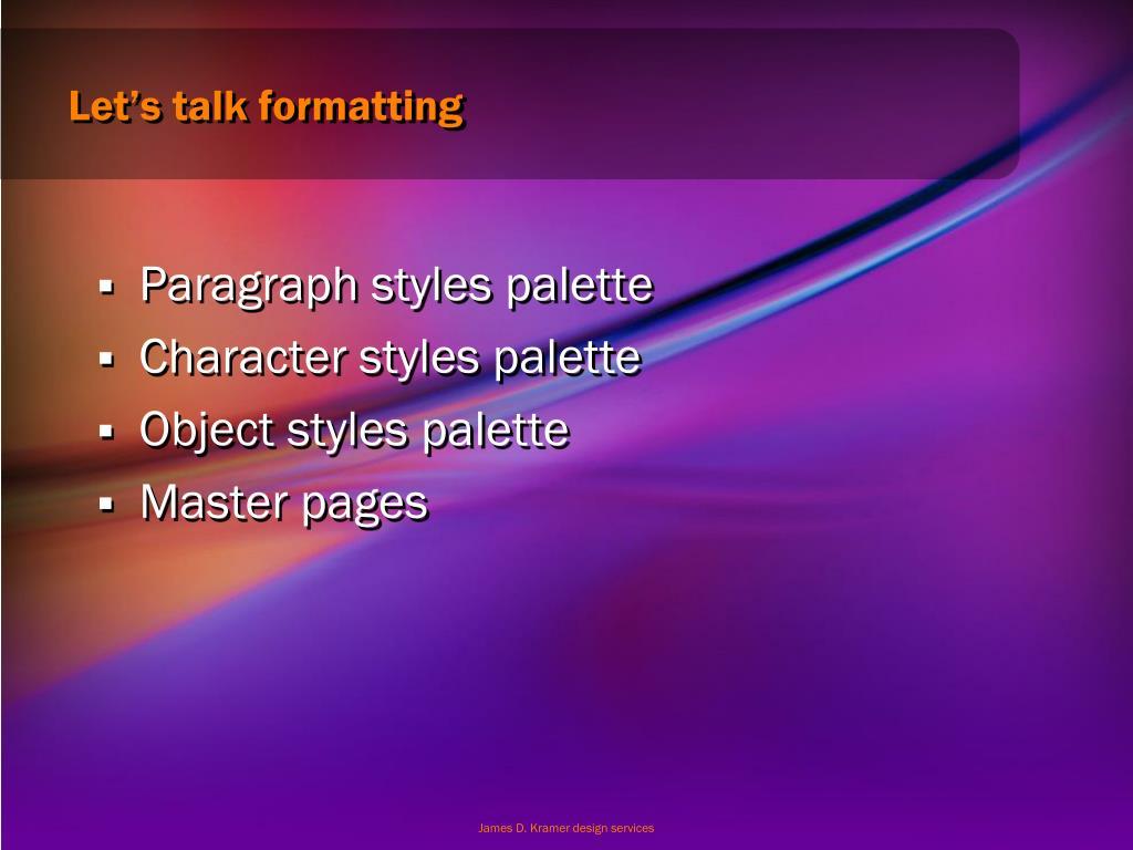 Let's talk formatting
