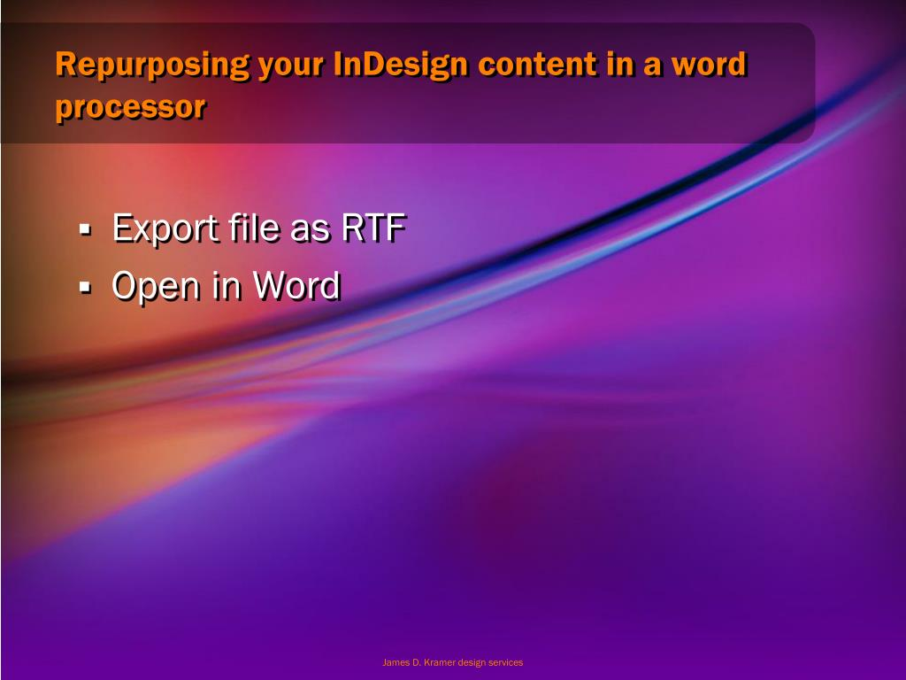 Repurposing your InDesign content in a word processor