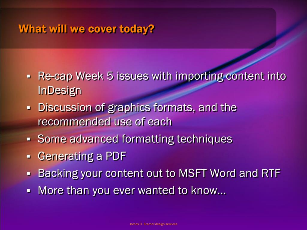 What will we cover today?