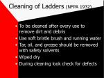 cleaning of ladders nfpa 1932