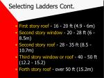 selecting ladders cont